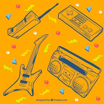80年代オブジェクトのスケッチとメンフィス黄色の背景