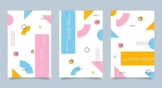 Коллекция дизайна обложки memphis