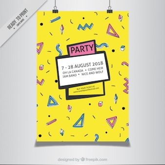 Желтый memphis восьмидесятых плакат партии