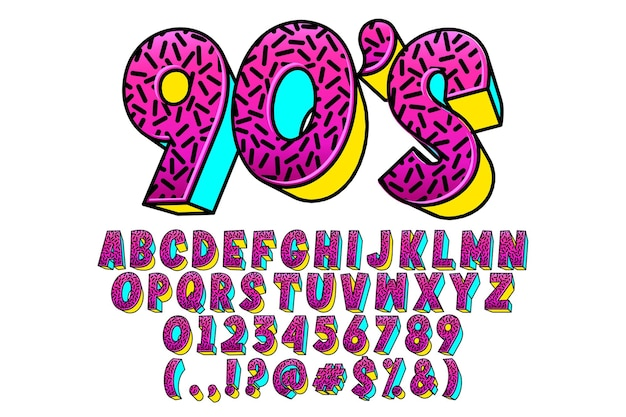 Memphus alphabet design pop art cartoon font retro typeface