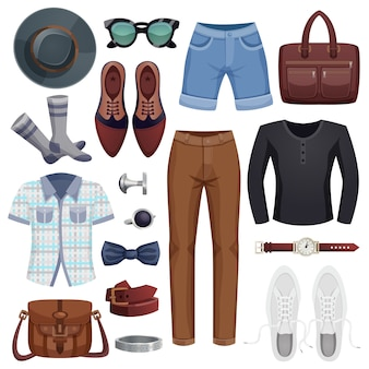Men accessories icon set
