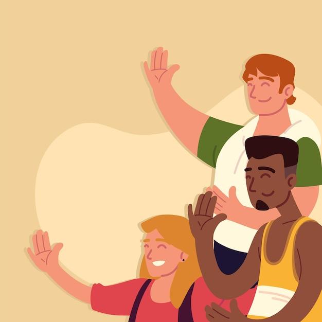 男性と女性が手を上げる