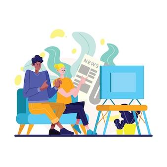 Мужчины и женщины смотрят новости по телевизору