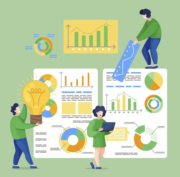 一緒にプロジェクトに取り組んでいる男性と女性、チームワーク。ビジネス分析グラフ、ボード上の財務情報。グラフィックでレポートをしている人。フラットスタイルのチームのイラスト