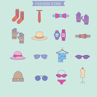 Мужская и женская одежда включает набор принадлежностей