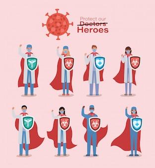 ケープと盾2019 ncovウイルスベクターデザインに対する男性と女性の医師のヒーロー