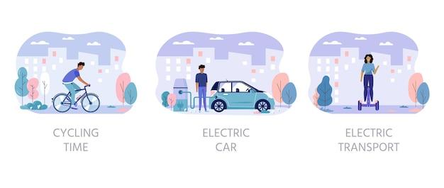 Мужчины и женщины водят эко-городской транспорт в концепции города общественного парка. персональный электротранспорт, зеленый электросамокат, гироскутер, гироскутер, одноколесный велосипед и байк. набор экологических автомобилей