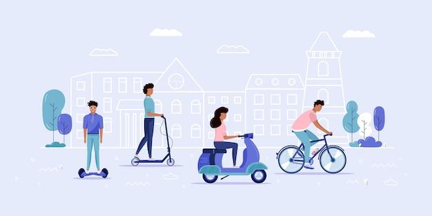 Мужчины и женщины водят эко-городской транспорт в общественном парке. персональный электротранспорт, зеленый электросамокат, гироскутер, гироскутер, одноколесный велосипед и байк. экологический автомобиль, концепция городской жизни