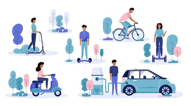 Мужчины и женщины водят эко-городской транспорт в общественном парке. персональный электротранспорт, зеленый электросамокат, гироскутер, гироскутер, одноколесный велосипед и байк. набор экологических транспортных средств, изолированные на белом фоне