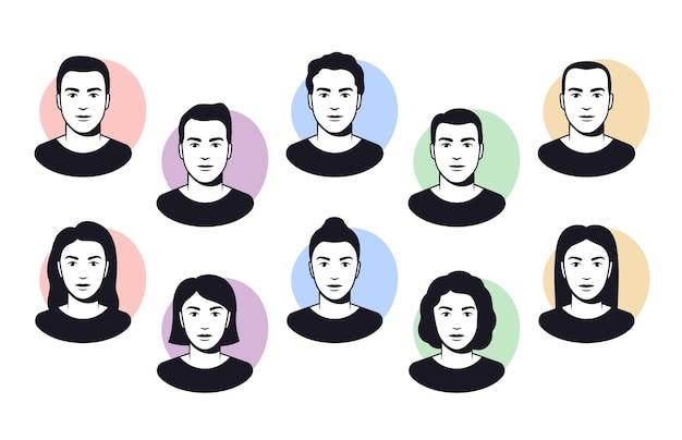 서로 다른 헤어스타일, 머리, 아바타 삽화를 가진 남성과 여성의 얼굴