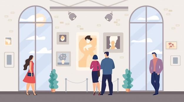 남자와 여자, 가족 커플 방문 미술관 프리미엄 벡터