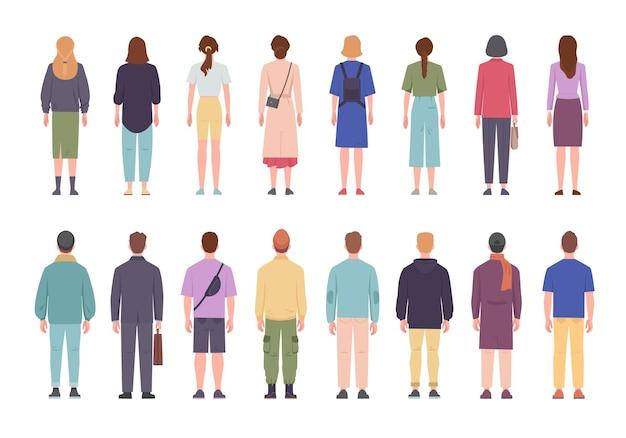 그들의 등을 맞댄 서있는 다른 옷을 입은 남녀 세트
