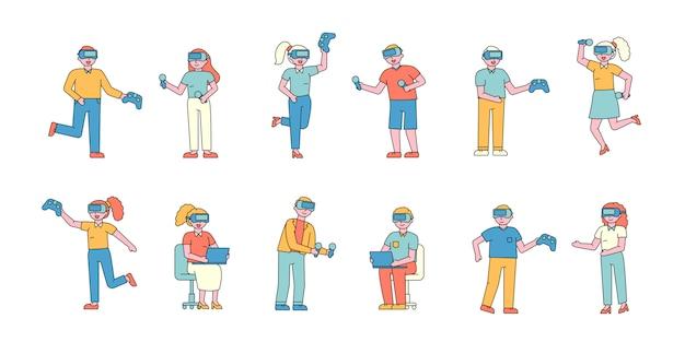 Vr 헬멧 평면 charers 세트에서 남성과 여성. 가상 현실 안경을 착용하는 사람들.