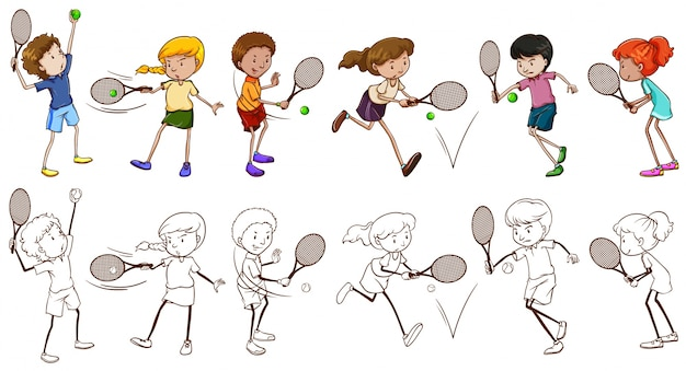 テニスのイラストの男性と女性の選手
