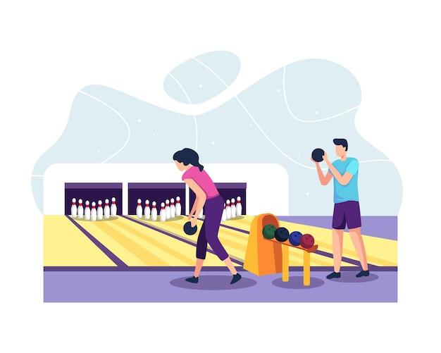 공을 던지는 클럽에서 볼링을하는 남녀. 볼링장에서 노는 커플. 공, 핀 및 점수 판이있는 볼링장. 플랫 스타일로