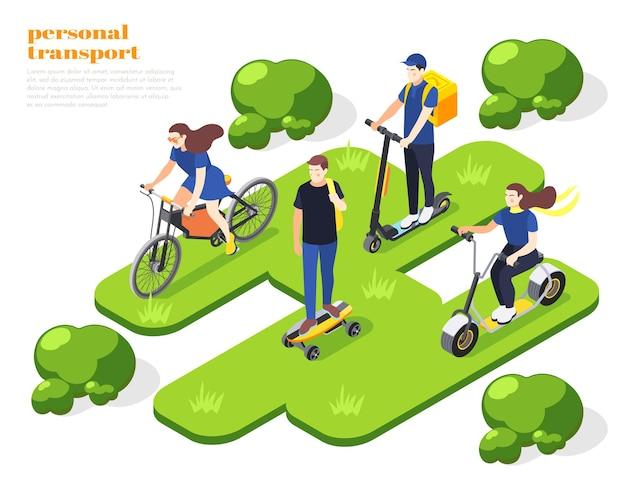 Мужчины и женщины катаются на личном экологически чистом транспорте в парке изометрической композиции