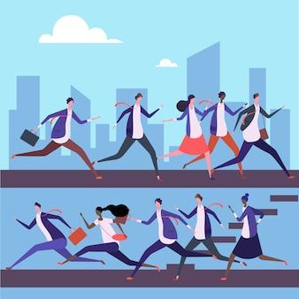 男性と女性は仕事に走る