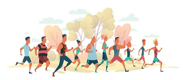 Мужчины и женщины бегут марафонцы на природу пейзаж. группа людей, одетых в спортивную одежду. участники соревнований по легкой атлетике пытаются обогнать друг друга