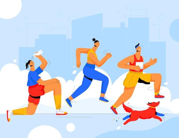 마라톤 레이스를 달리는 남녀