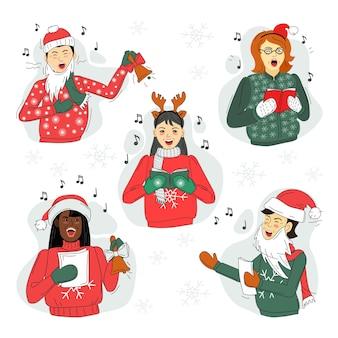 Мужчины и женщины поют рождественские песни. задавать.