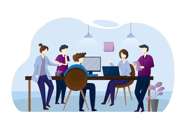 机に座って近代的なオフィスに立って、コンピューターで作業し、同僚と話している男女。効果的で生産的なチームワーク。フラットな漫画のスタイルのカラフルなイラスト。
