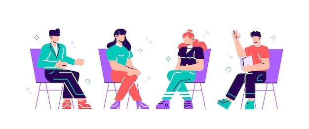 Мужчины и женщины сидят на стульях и разговаривают с психотерапевтом или психологом. групповая терапия, психотерапевтическая встреча или психологическая помощь. иллюстрация в современном стиле, плоский.