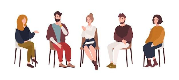남자와 여자는 의자에 앉아서 심리 치료사 또는 심리학자와 이야기합니다. 그룹 치료 세션, 심리 치료 회의 또는 심리 지원. 현대 평면 스타일의 벡터 일러스트 레이 션.