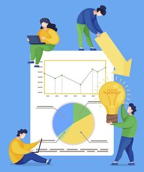 分析グラフィックを使用してボードの近くに座っている、または立っている男性と女性。一緒にラップトップに取り組んでいる人々、プロジェクトのチームワーク。統計グラフ、会社の財務情報。図