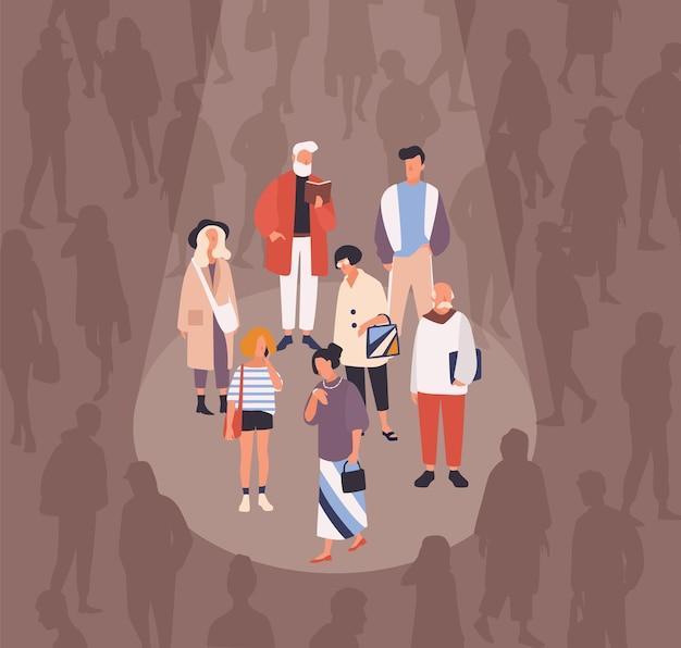 Мужчины и женщины, освещенные или освещенные лучом света на фоне толпы людей. понятие фокус-группы, целевой аудитории, демографических исследований. плоские векторные иллюстрации шаржа.