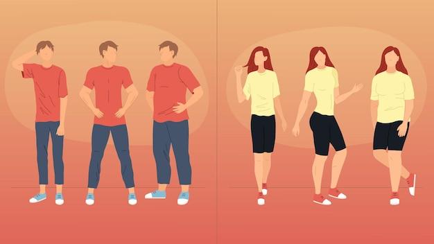 남자와 여자는 다른 포즈에 서. 다양한 제스처를 보여주는 뚱뚱하고 얇은 남성과 여성 캐릭터가 함께 행에 서 있습니다. 비즈니스 사람들 팀. 만화 플랫 스타일 벡터 일러스트 레이 션.