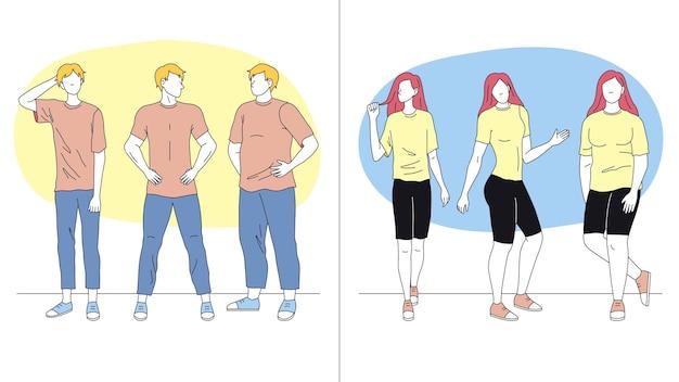 남자와 여자는 다른 포즈에 서. 다양한 제스처를 보여주는 행에 서있는 남성과 여성의 문자. 비즈니스 사람들 팀. 만화 선형 개요 평면 벡터 일러스트 레이 션.