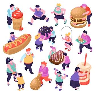 Мужчины и женщины, страдающие от обжорства и занимающихся спортом изометрические иконки на белом фоне 3d иллюстрации