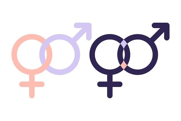 남자와 여자 기호입니다. 남녀 평등 기호입니다. 여성과 남성은 항상 동등한 기회를 가져야 합니다. 벡터 일러스트 레이 션. 평평한.