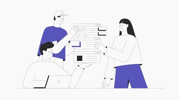 비즈니스 회의에 참여하는 남성과 여성은 아이디어를 생성하고 앱을 테스트합니다.