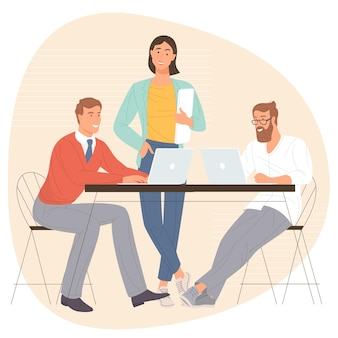 비즈니스 회의에 참여하는 남녀