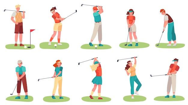緑の芝生の上でゴルフクラブでトレーニングする男性と女性
