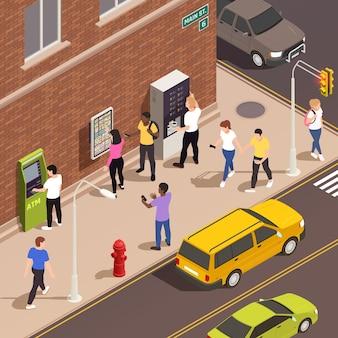 Мужчины и женщины используют информационное табло, банкомат, кофейный киоск с интерактивным интерфейсом на тротуаре, 3d изометрические