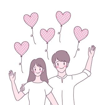 서로에 대한 사랑을 보여주는 남녀