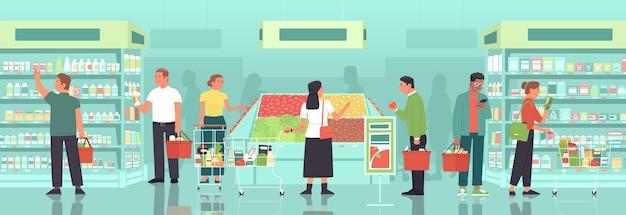 バスケットと食料品のカートを持っている男性と女性は、食料品店cで食料品を選択して購入します