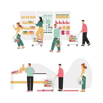 Мужчины и женщины с корзинами или тележкой для покупок выбирают продукты, ассортиментные полки.