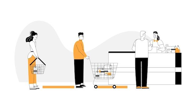 Мужчины и женщины с корзинами или тележкой для покупок стоят в очереди у кассы, оплачивая покупки.