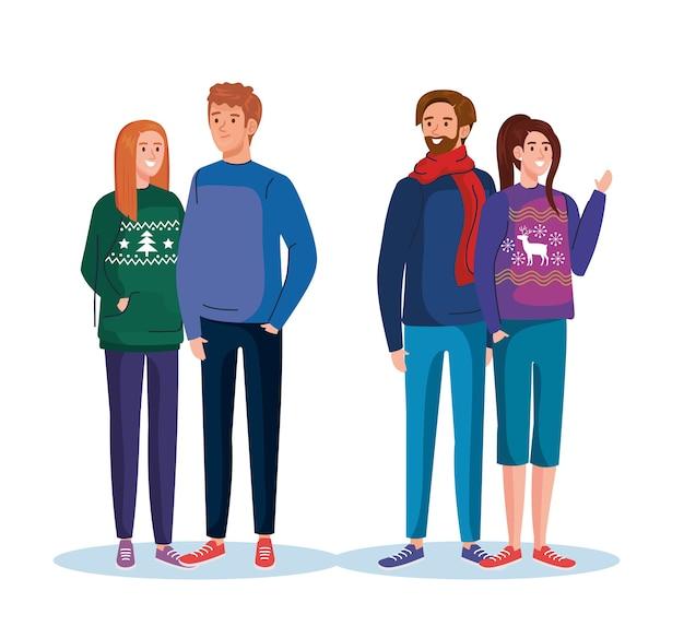 メリークリスマスセーターのデザイン、冬の季節と装飾のテーマのイラストと男性と女性
