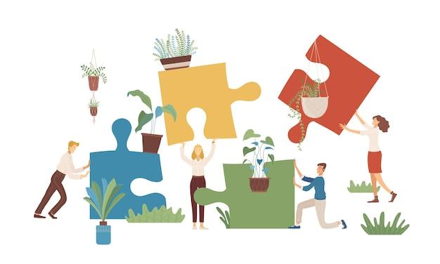 흰색 배경에 고립 된 퍼즐과 꽃 만화 캐릭터와 남자와 여자