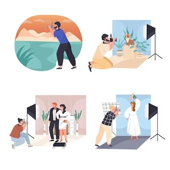 男性と女性は、写真家のコンセプトシーンが文字のベクトルイラストを設定するように動作します
