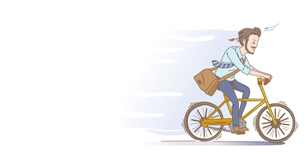 Men are cycling. men are cycling. businessman riding bicycle. hand drawing style.