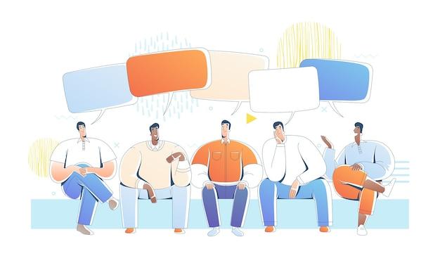 Сидят мужчины и разговаривают с пузырями речи. иллюстрация дружелюбных друзей в чате