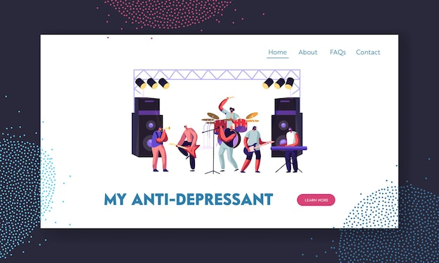 Men artists playing with musical instruments, rock band performing on stage. electric guitarists, drummer, singer, trumpeter website landing page