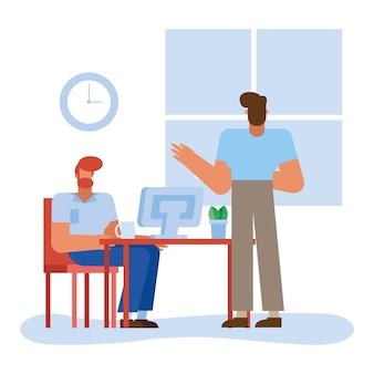 사무실 디자인, 비즈니스 개체 인력 및 기업 테마의 컴퓨터가있는 책상에있는 남성