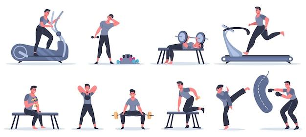 Мужчины в спортивном зале. мужской фитнес-персонаж бежит, подтягивается, работает с боксерской грушей, спортивный характер упражнения в спортивном тренажерном зале иллюстрации набор. тренировки мужчин в спортивной одежде, здоровый образ жизни