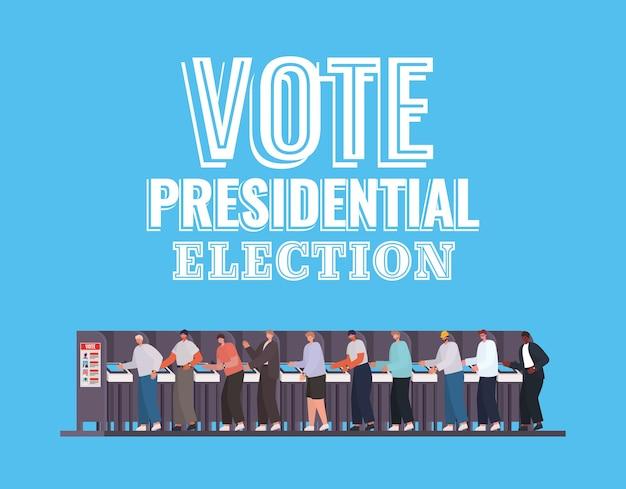 투표 대통령 선거 텍스트 디자인, 선거 일 테마로 투표 부스에서 남자.
